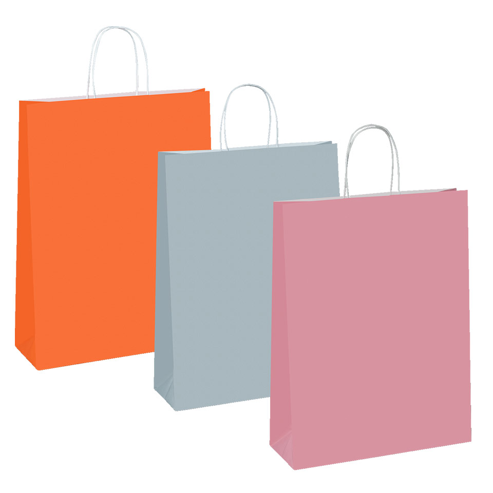 Three colourful paper bags in a row