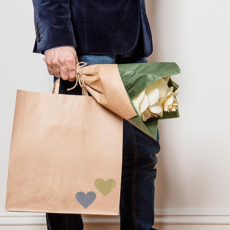 Image of PaperPak carry bag with heart labels